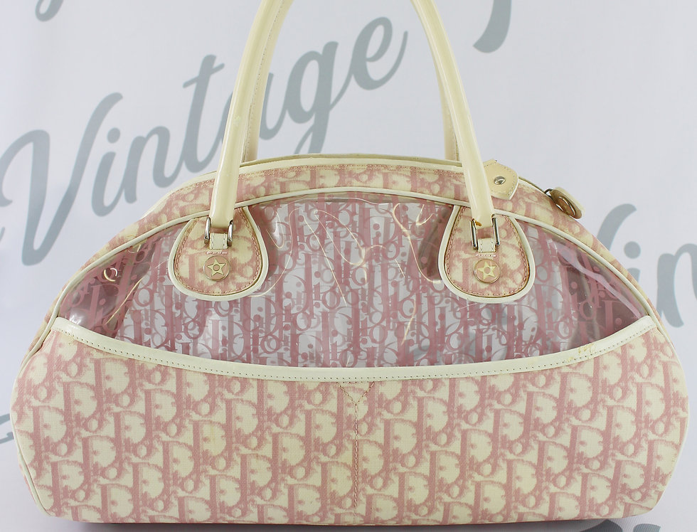 Christian Dior Transparent Handbag Pink Trotter Monogram Bag L