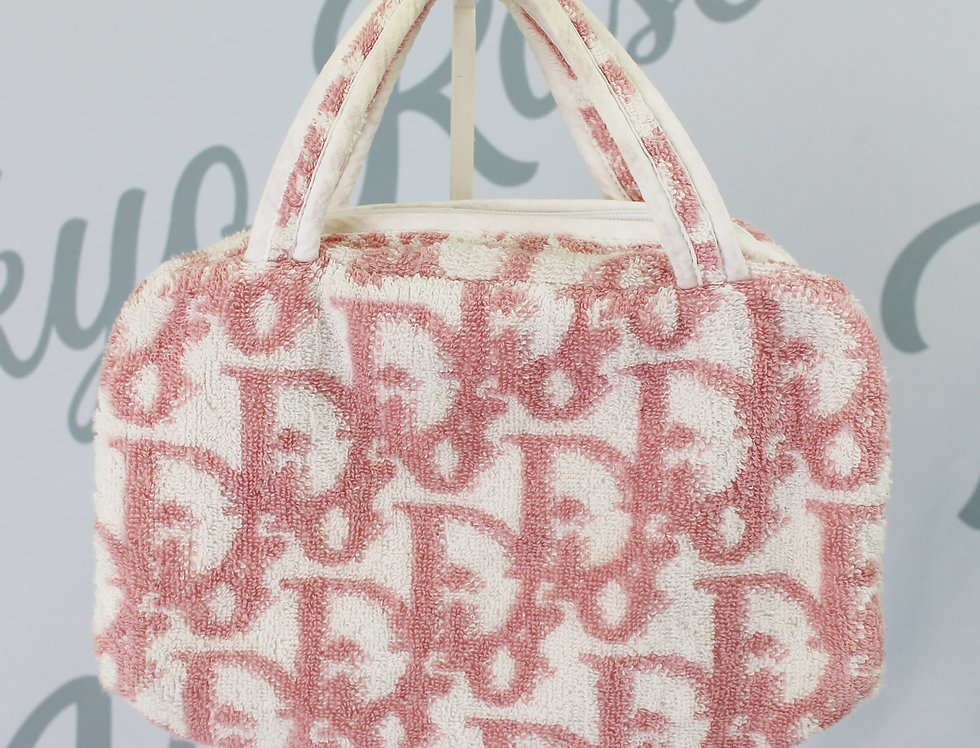 Christian Dior Pink Terry Towel Boston Bag Monogram Trotter Print Handbag