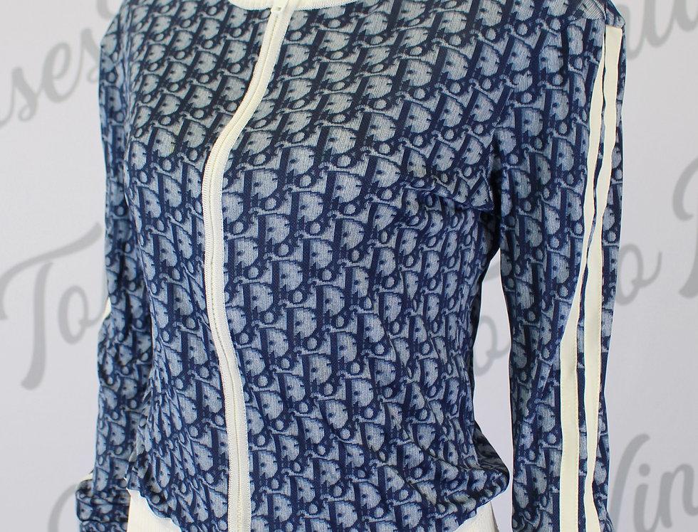 Christian Dior Blue Zip Up Jacket Trotter Logo Monogram Print US6