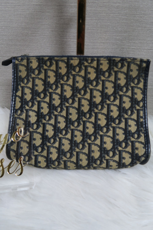 9599316b39b Christian Dior Vintage Trotter Oblique Monogram Print Clutch Bag Navy Small