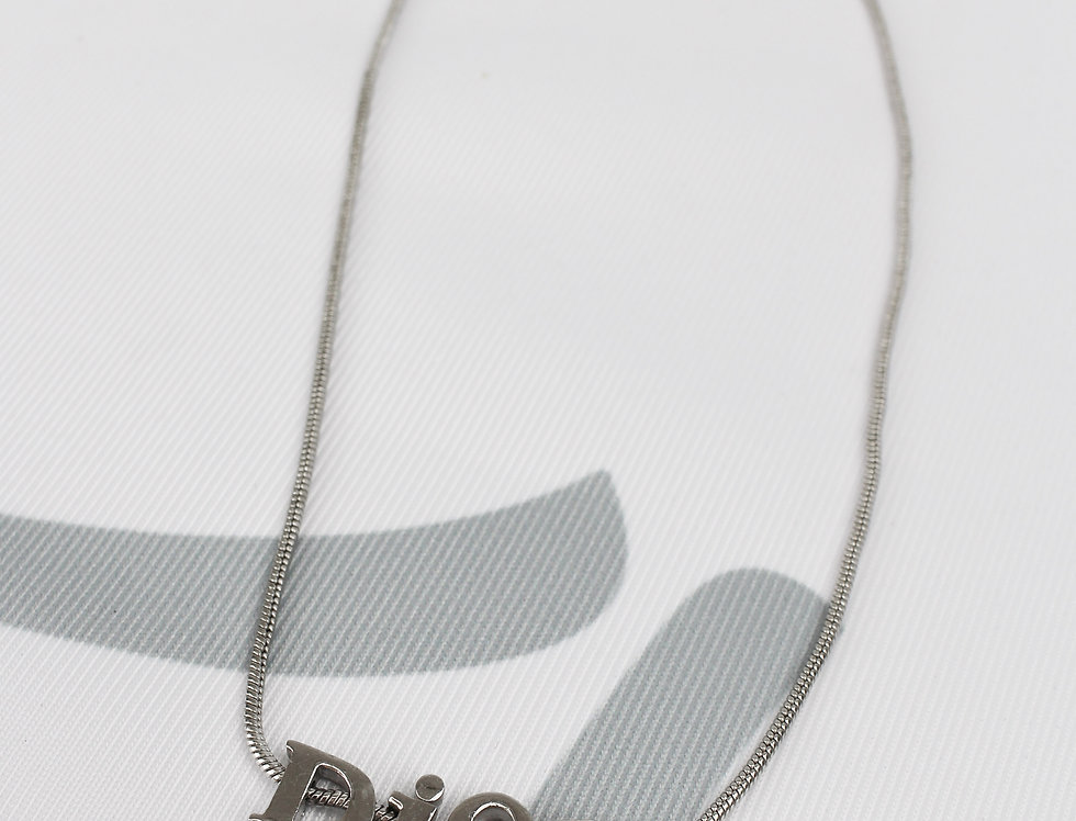 Christian Dior Silver Tone Letter Necklace