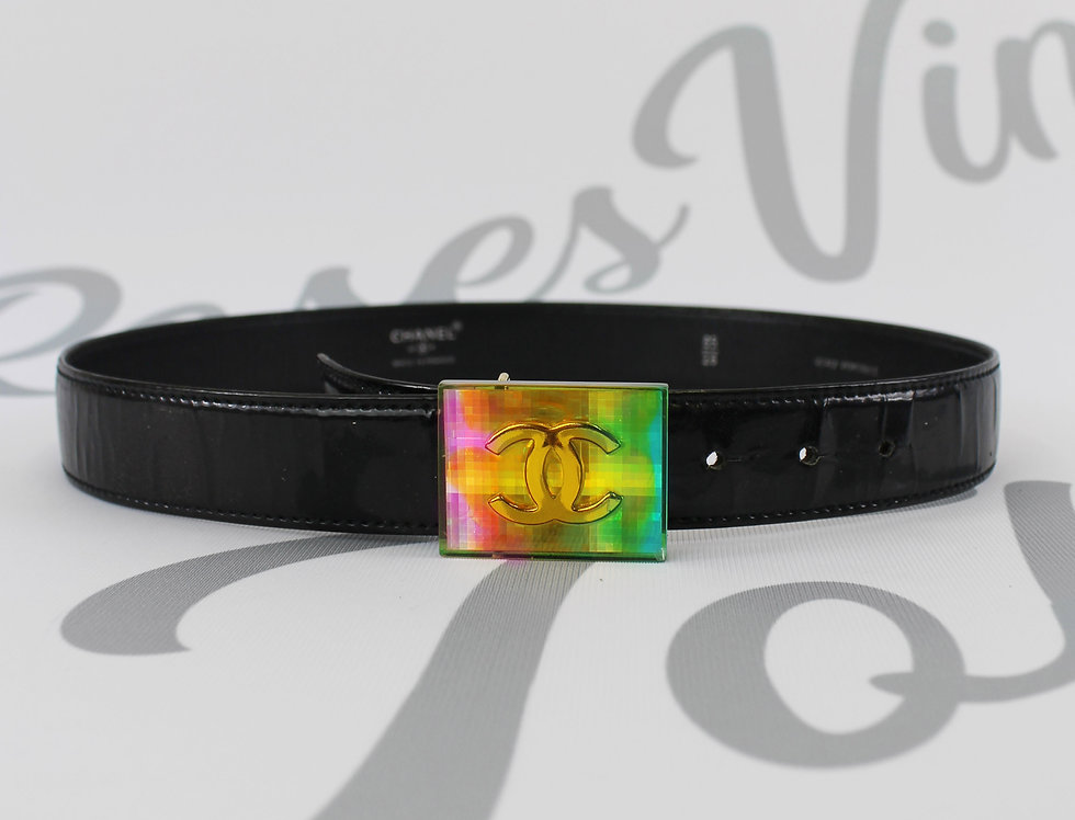 Chanel Patent Leather Belt Rainbow CC Logo Buckle