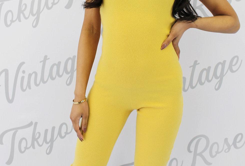 Chanel Sunshine Yellow Cashmere Logo Jumpsuit Catsuit