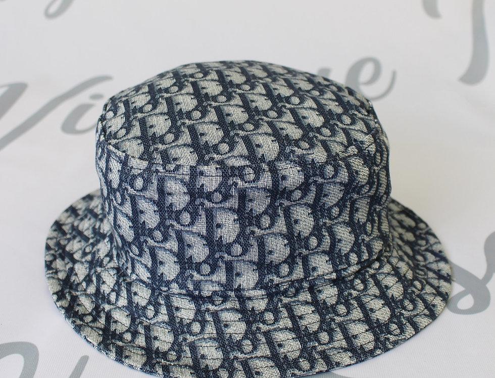 Christian Dior Blue Monogram Logo Print Bucket Hat