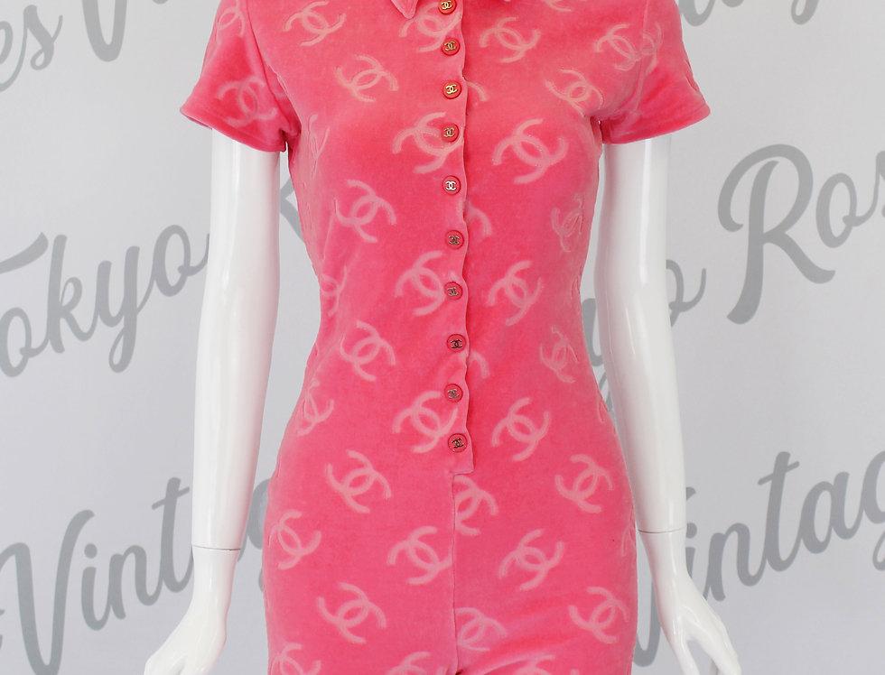 Chanel Velour Pink Short Jumpsuit 1996 CC
