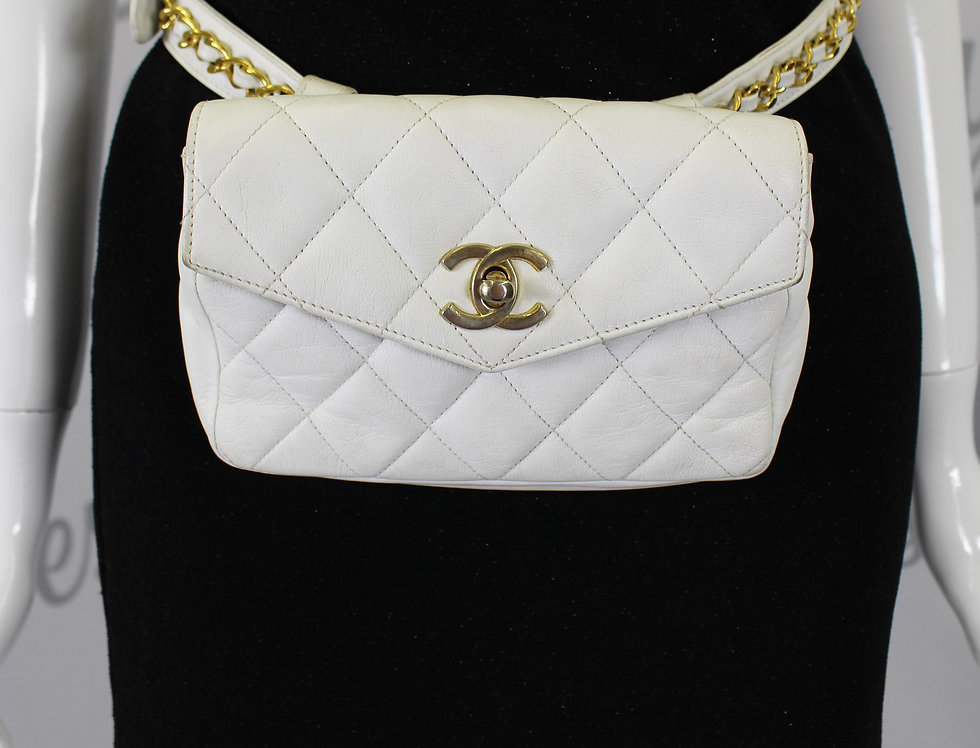 Chanel Lambskin Quilted Fanny Pack Gold Turn lock