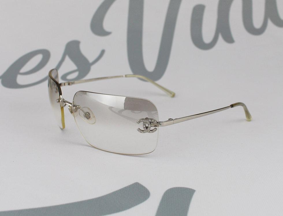 Vintage Chanel Clear Grey Tinted Sunglasses Rhinestone Glasses