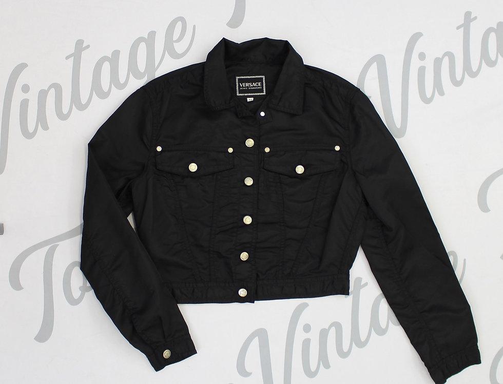 Black Versace Long Sleeve Jacket Logo Medusa Buttons