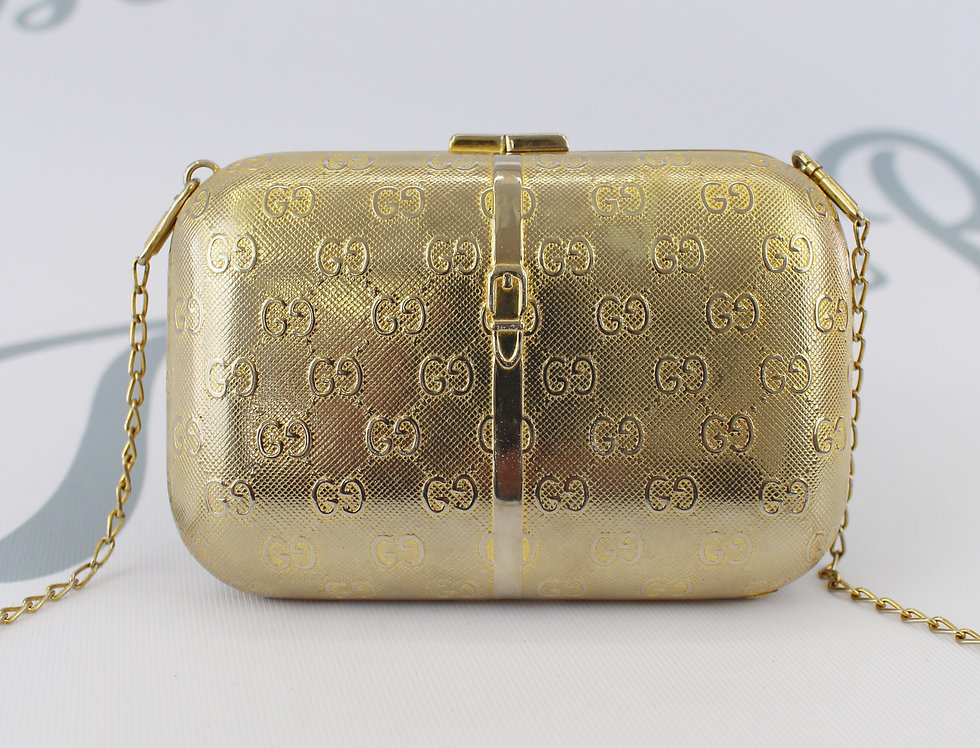 Gucci Gold Metal GG Logo Monogram Crossbody Clutch