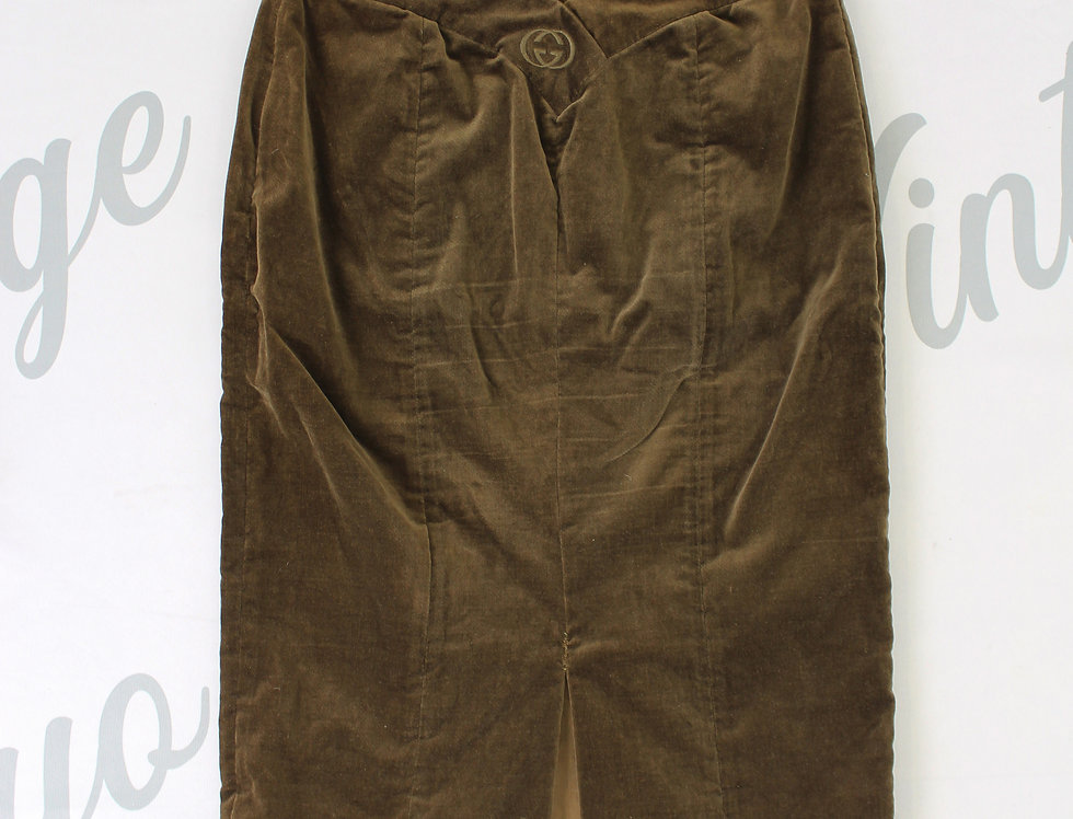 Gucci Velour Skirt Brown V Dip Gucci GG logo
