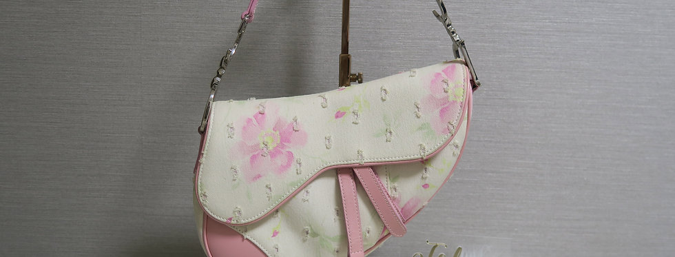 Vintage Christian Dior Pink leather & Floral Canvas Saddle Bag
