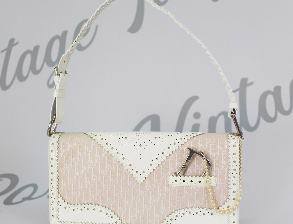 Christian Dior Pink Logo Monogram Lace Handbag Pearl D Strap Charm