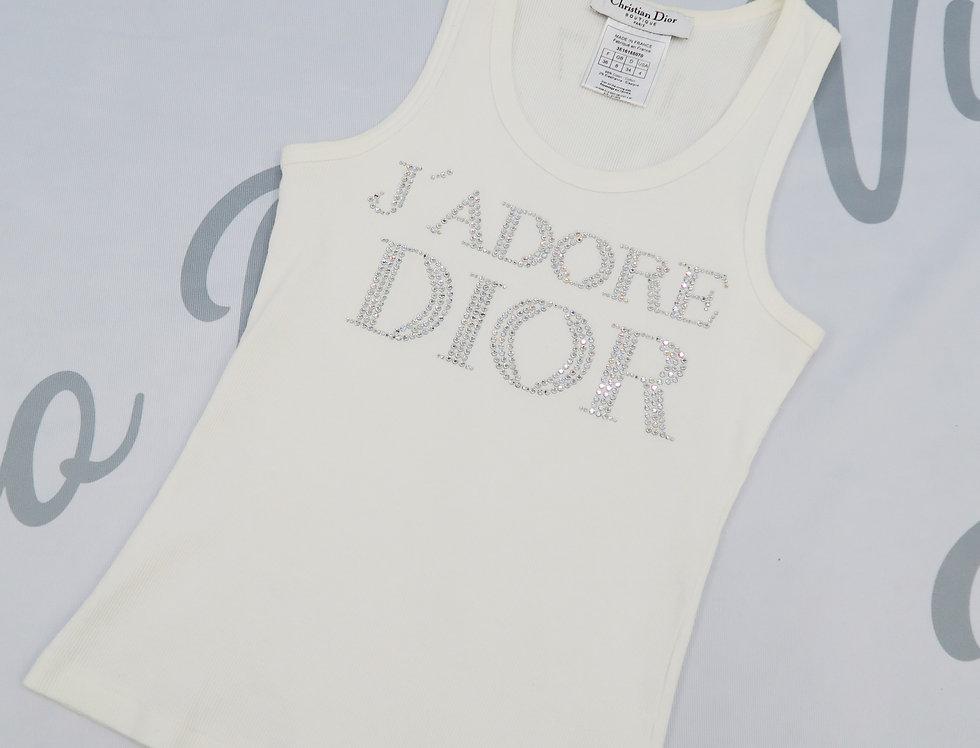 Christian Dior J'adore Dior Rhinestone Crystal Logo Tank Top