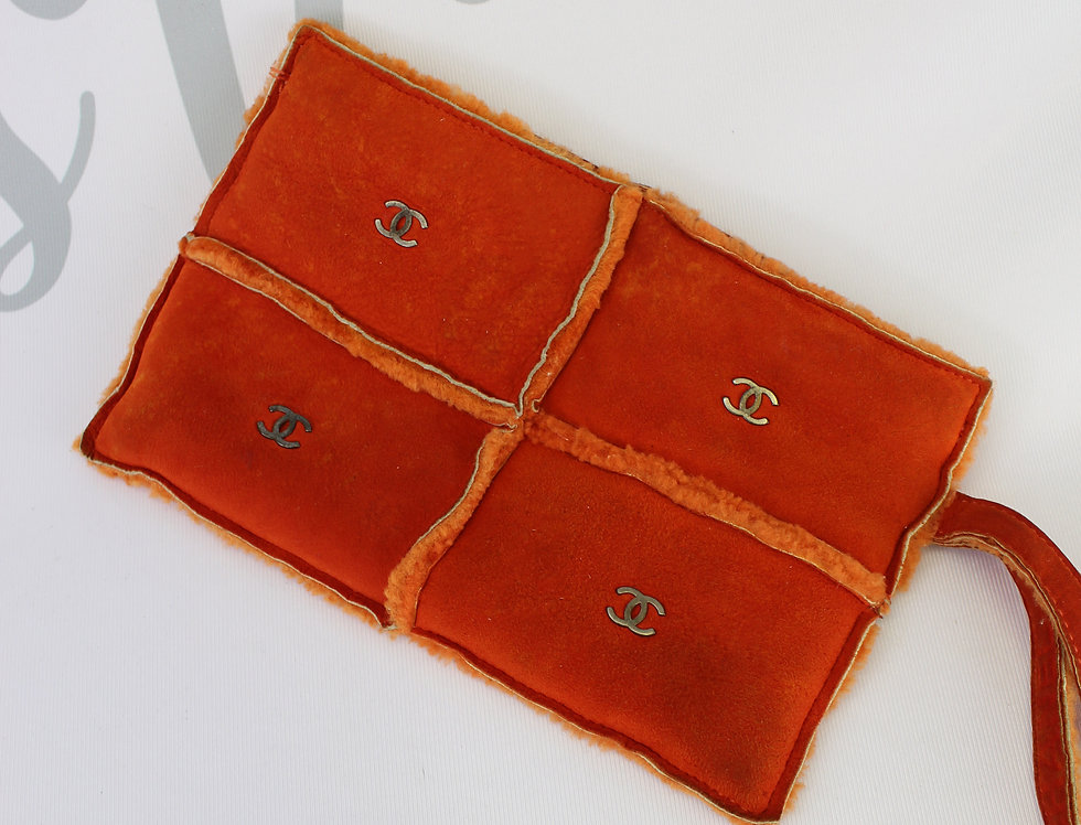 Chanel Orange Mouton Suede Wristlet Bag