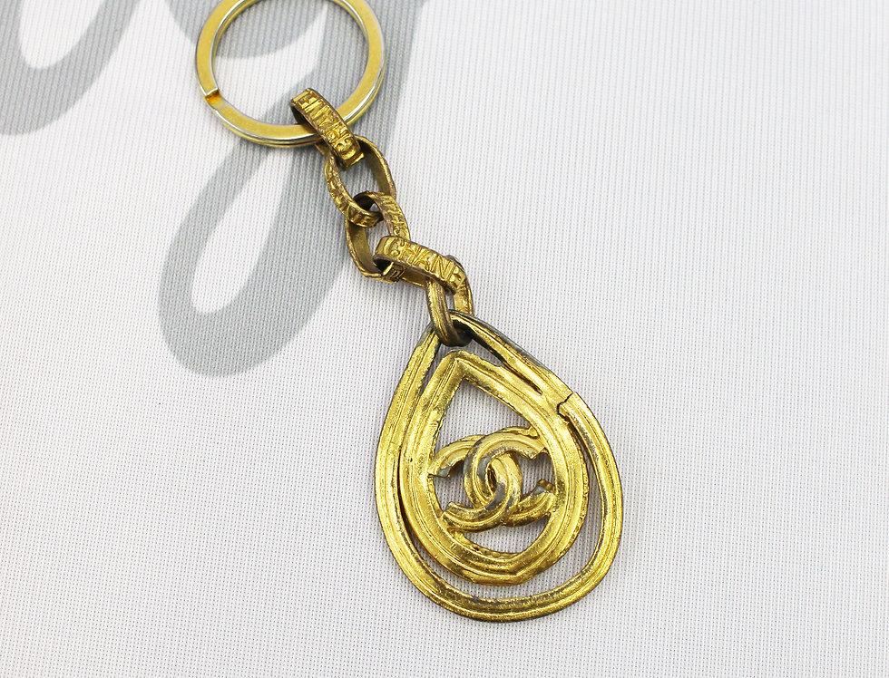Chanel CC Logo Drop Keychain Gold Tone