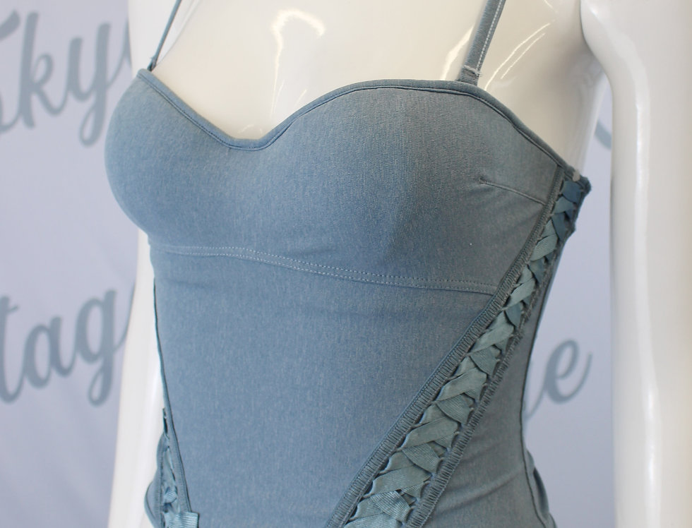Christian Dior Blue Lace Up Bustier Galliano Era