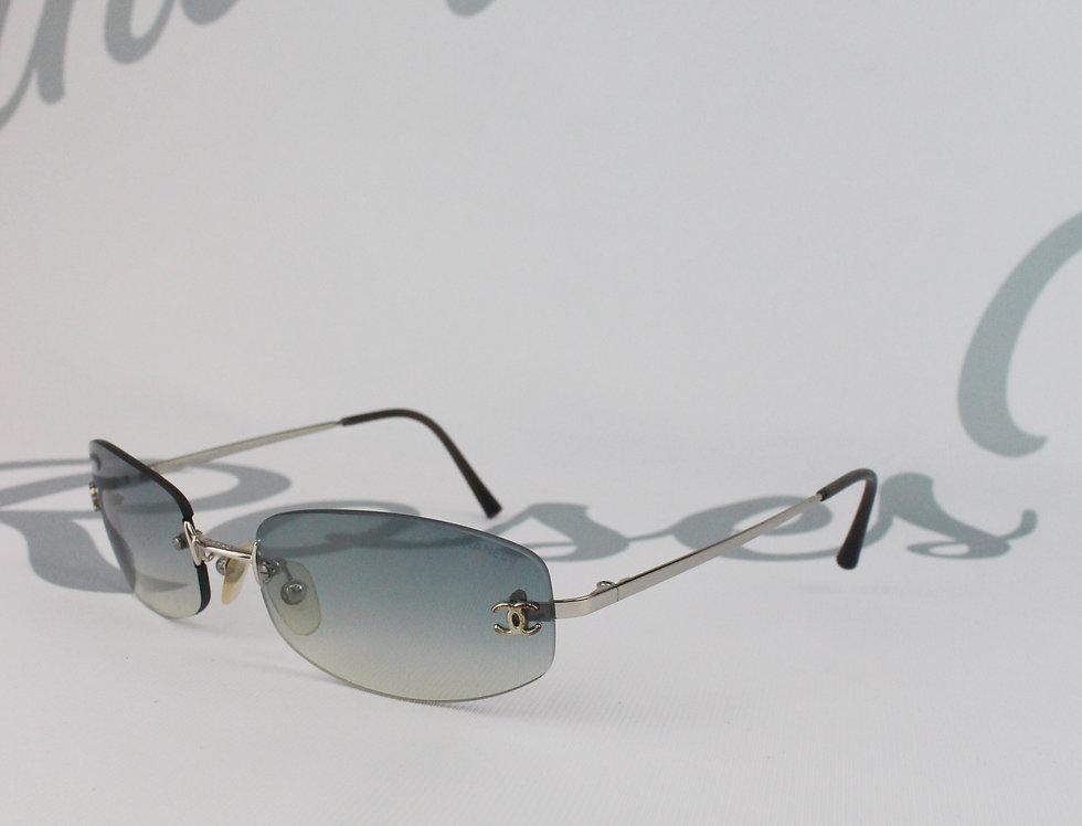 Vintage Chanel Blue Gradient Tinted Sunglasses CC Logo Glasses