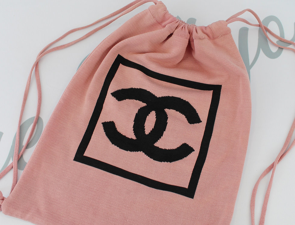 Chanel Sport Pink Knit Backpack CC Logo