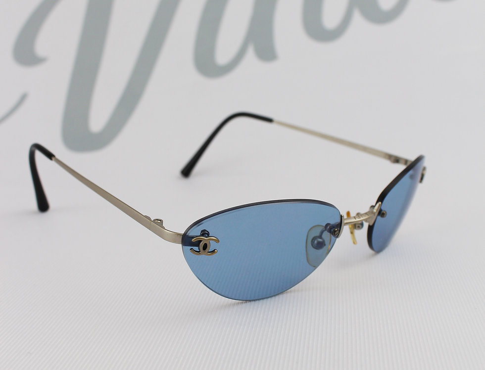Vintage Chanel Blue Tinted Sunglasses CC Logo Glasses