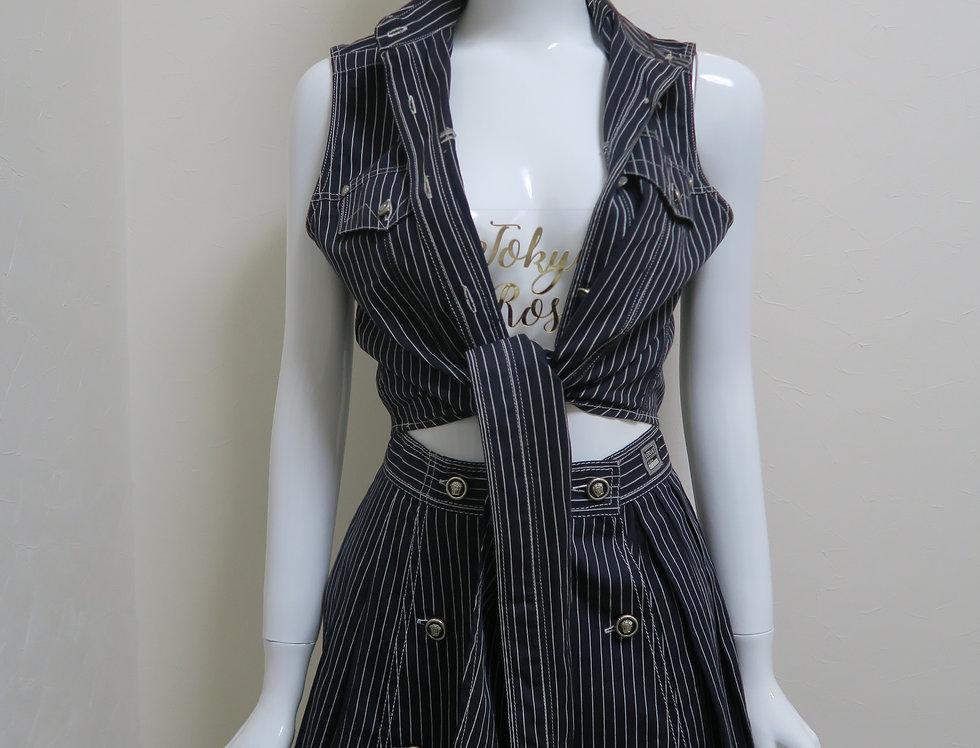 Versace Stripe Medusa Sleeveless Tops Skirt Set Navy
