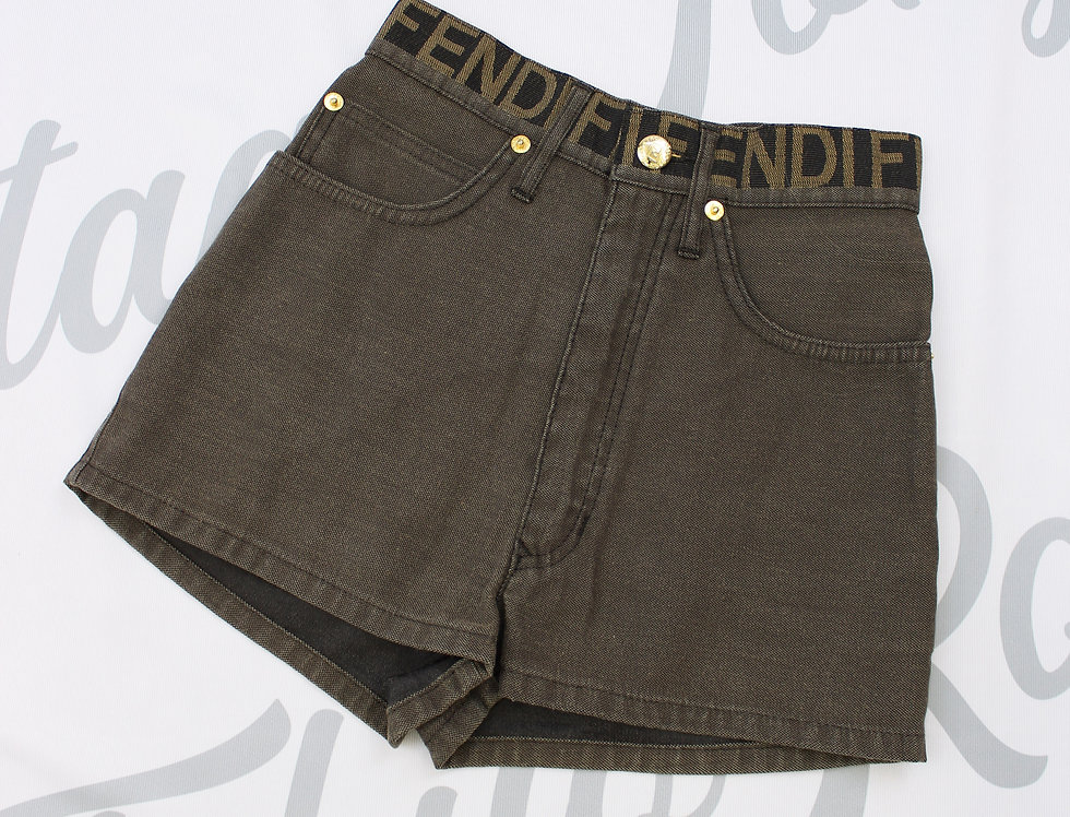 Vintage Fendi Logo Waistband Denim Shorts