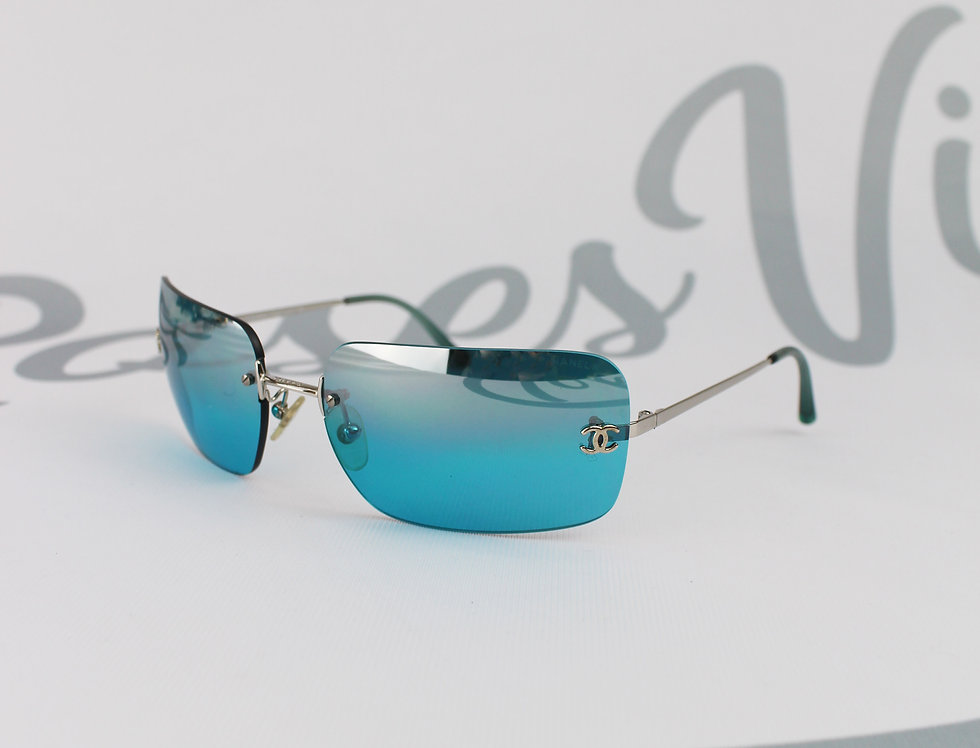 Vintage Chanel Blue Rimless Sunglasses