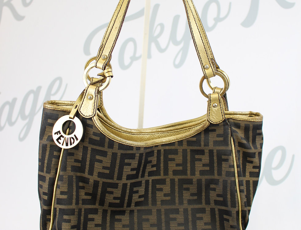 Fendi Shoulder Bag FF Logo Monogram Gold Details
