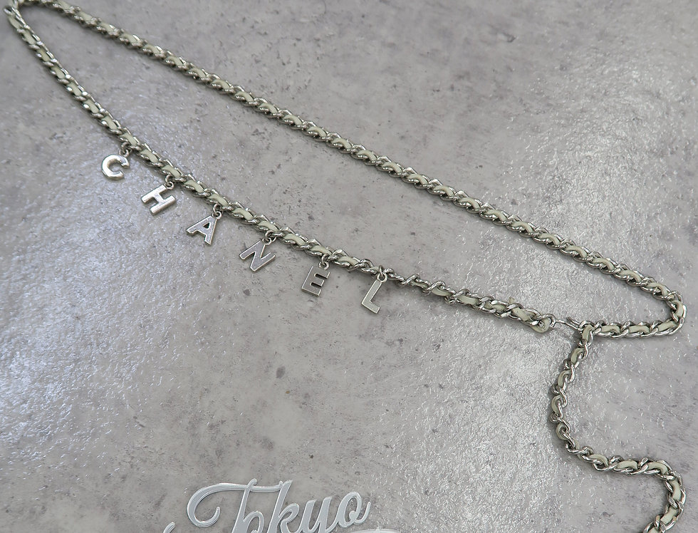 Chanel Letter Chain Belt CC Charm Silver & Leather