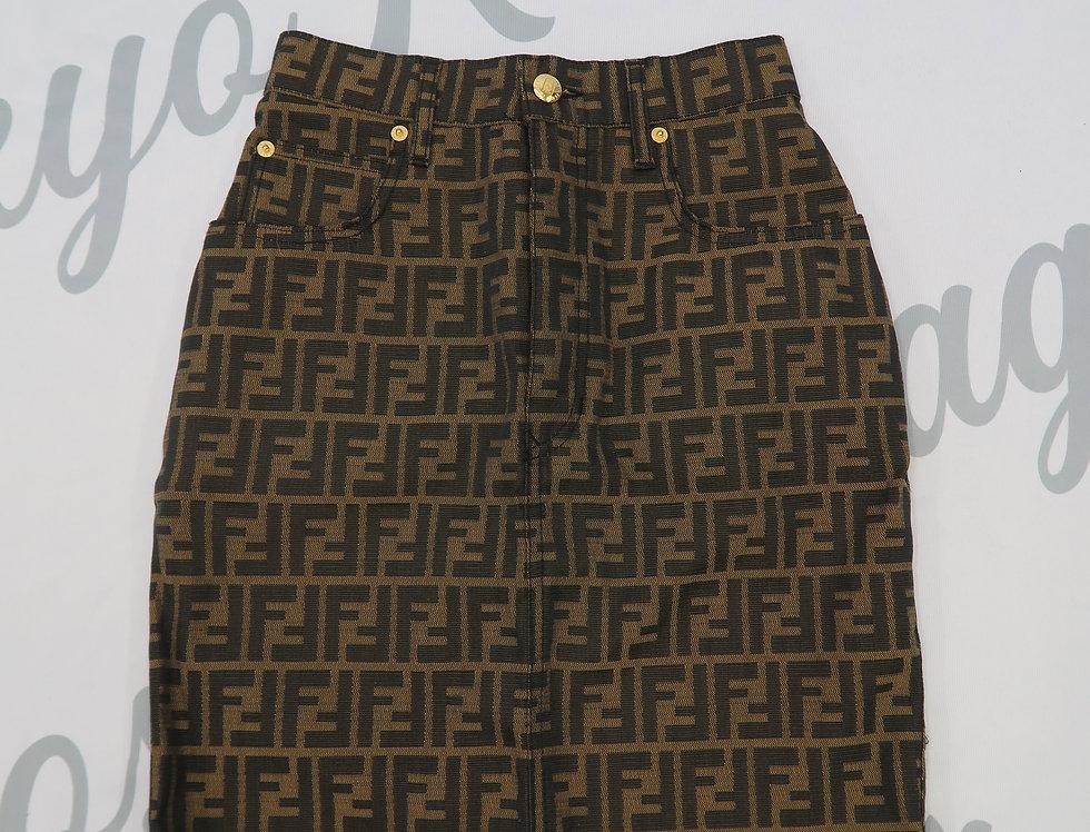 Fendi Logo Print Zucca Skirt Gold Hardware