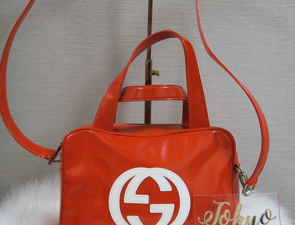 Gucci Patent Orange Jumbo Logo 2 Way Bag Handbag Crossbody SET