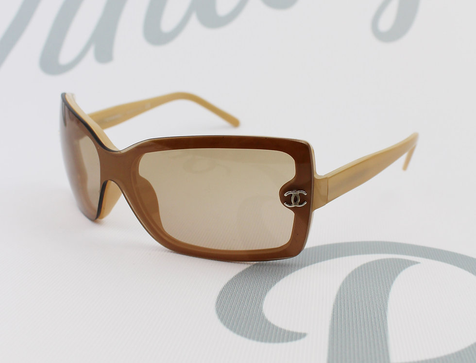 Vintage Chanel Brown Tan Thick Frame Sunglasses Glasses