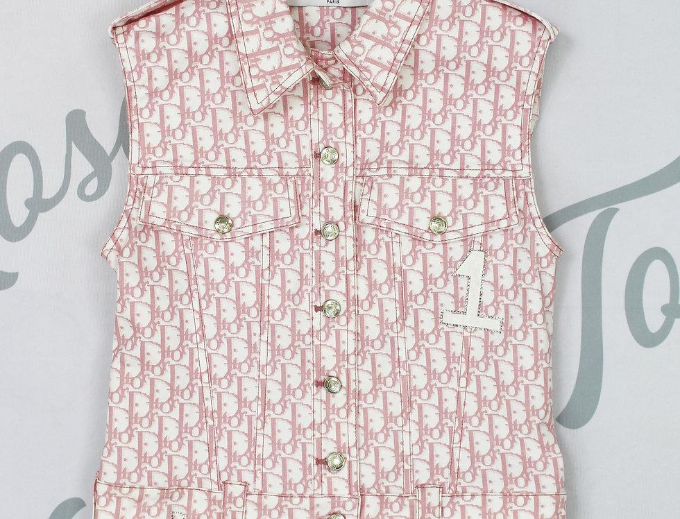 Christian Dior Sleeveless Jacket Vest Pink Trotter Logo Monogram Print