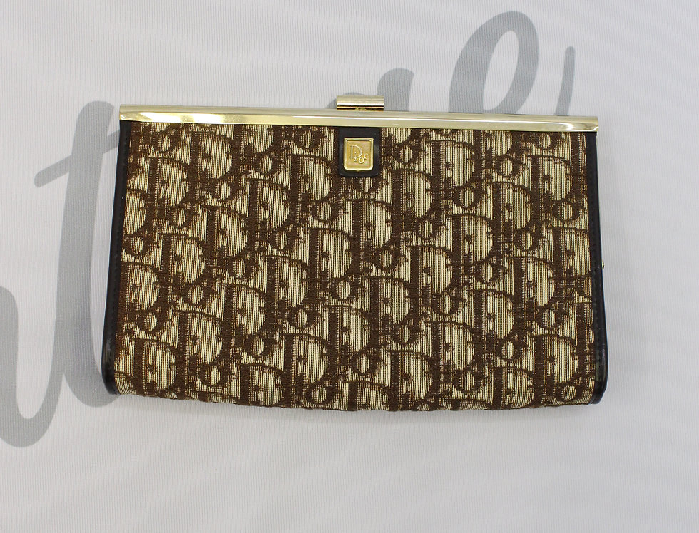 Christian Dior Vintage Trotter Oblique Monogram Print Clutch Bag Brown