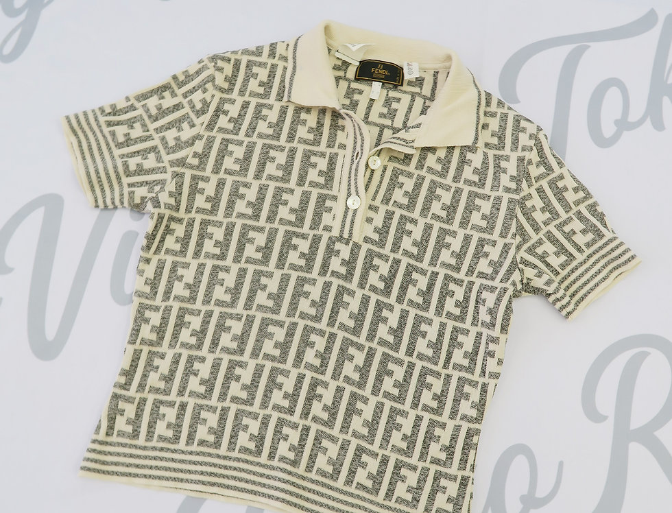 Fendi Cream Grey Knit Zucca FF Logo Print Collared Short Sleeve Top