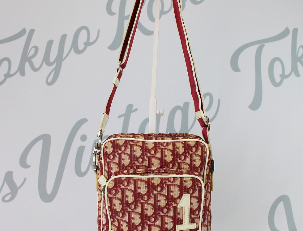 Vintage Christian Dior Red Trotter Crossbody Bag Monogram Logo Print