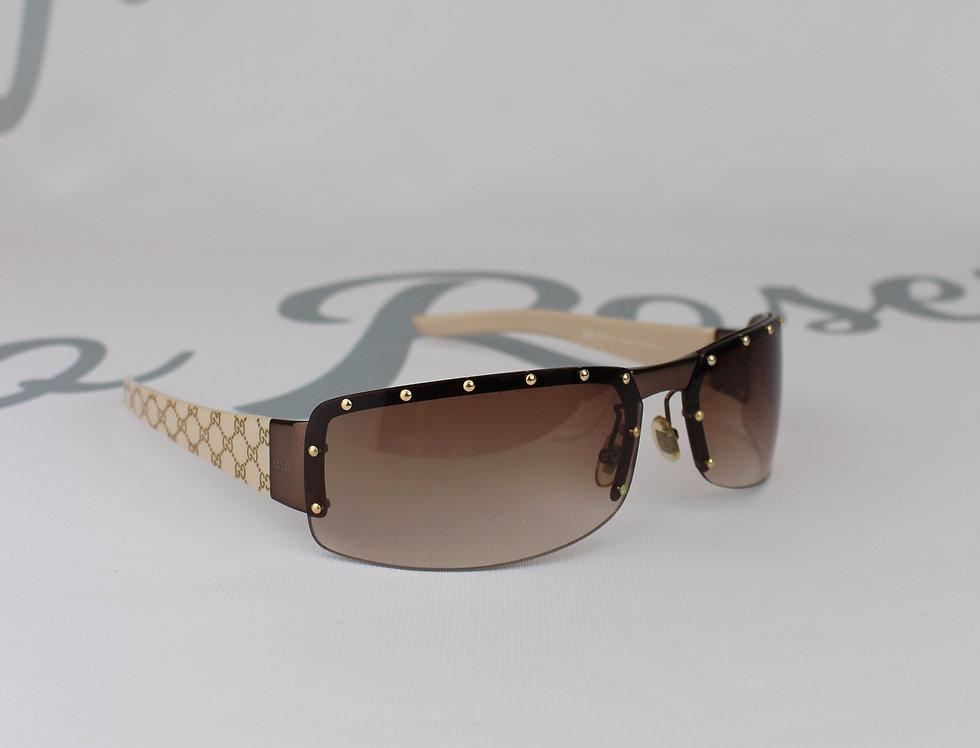 Vintage Gucci Monogram Stud Glasses Brown Sunglasses