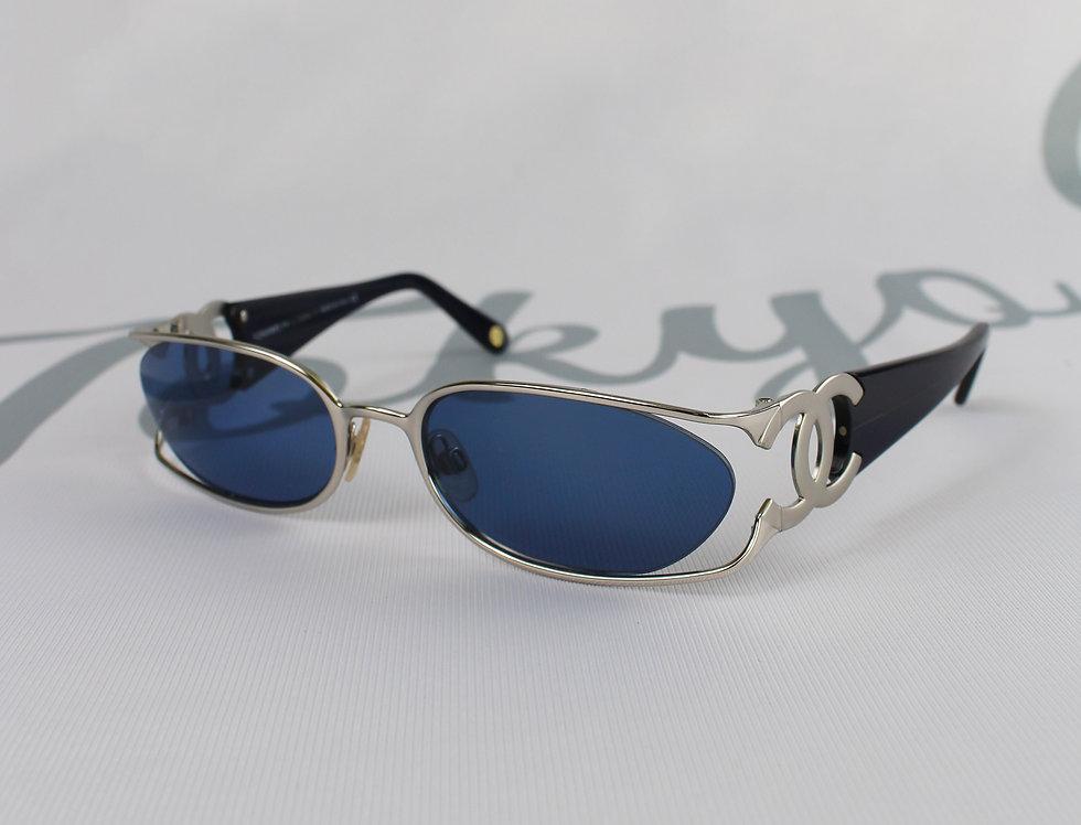 Silver Blue Chanel CC Side Sunglasses