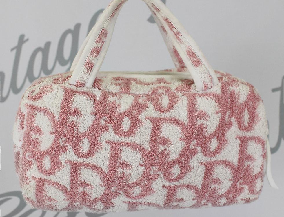 Christian Dior Pink Terry Towel Boston Bag Monogram Trotter Print Handbag