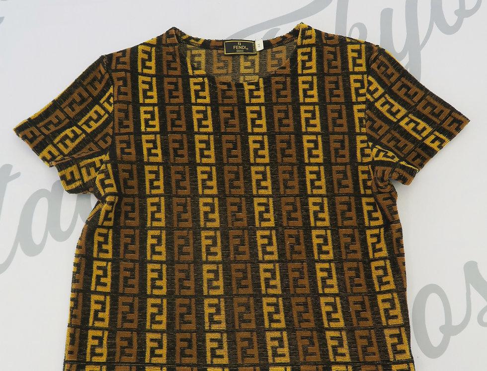 Fendi Knit Yellow Brown Top FF Logo Zucca Print