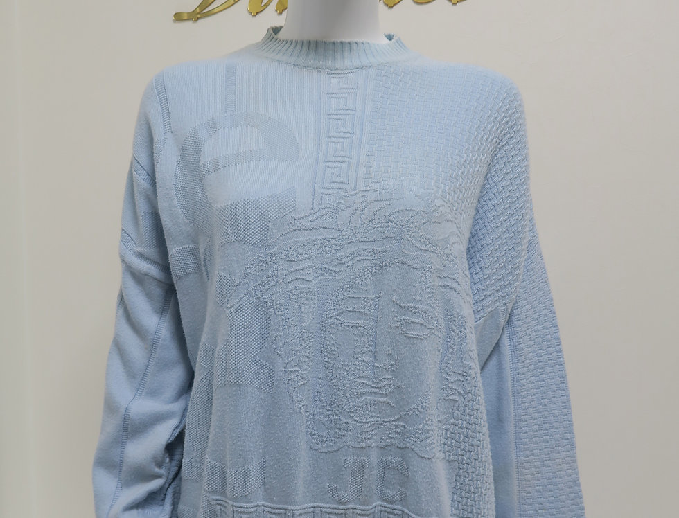 Light Blue Gianni Versace Medusa Head Sweater Jumper