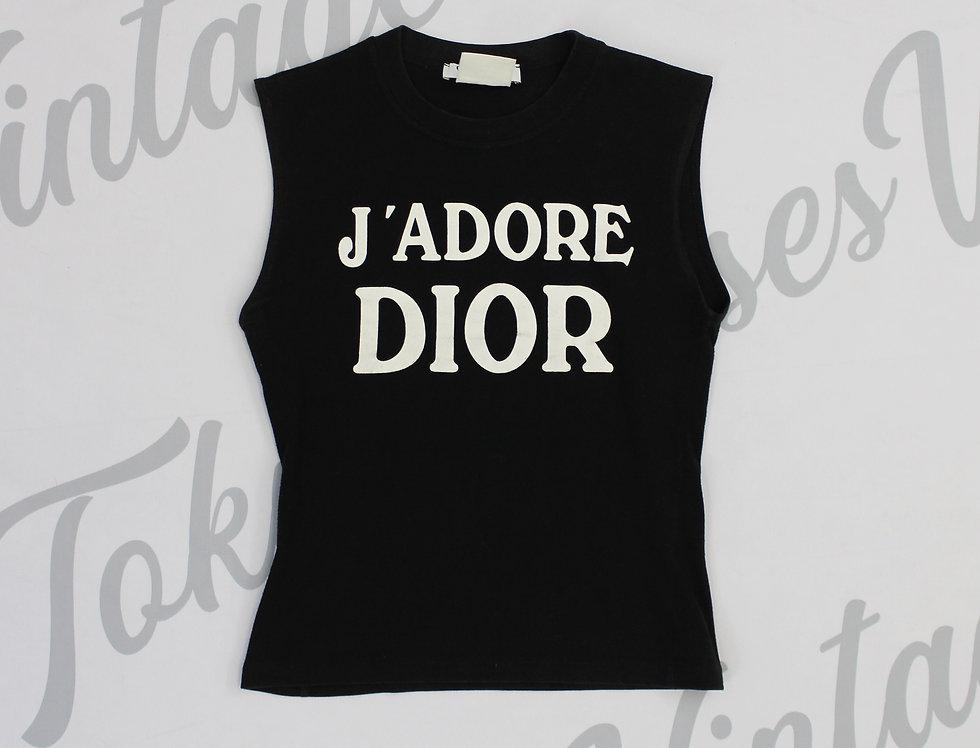 Christian Dior Black J'adore Dior Logo Print Sleeveless Tank Top Jadore