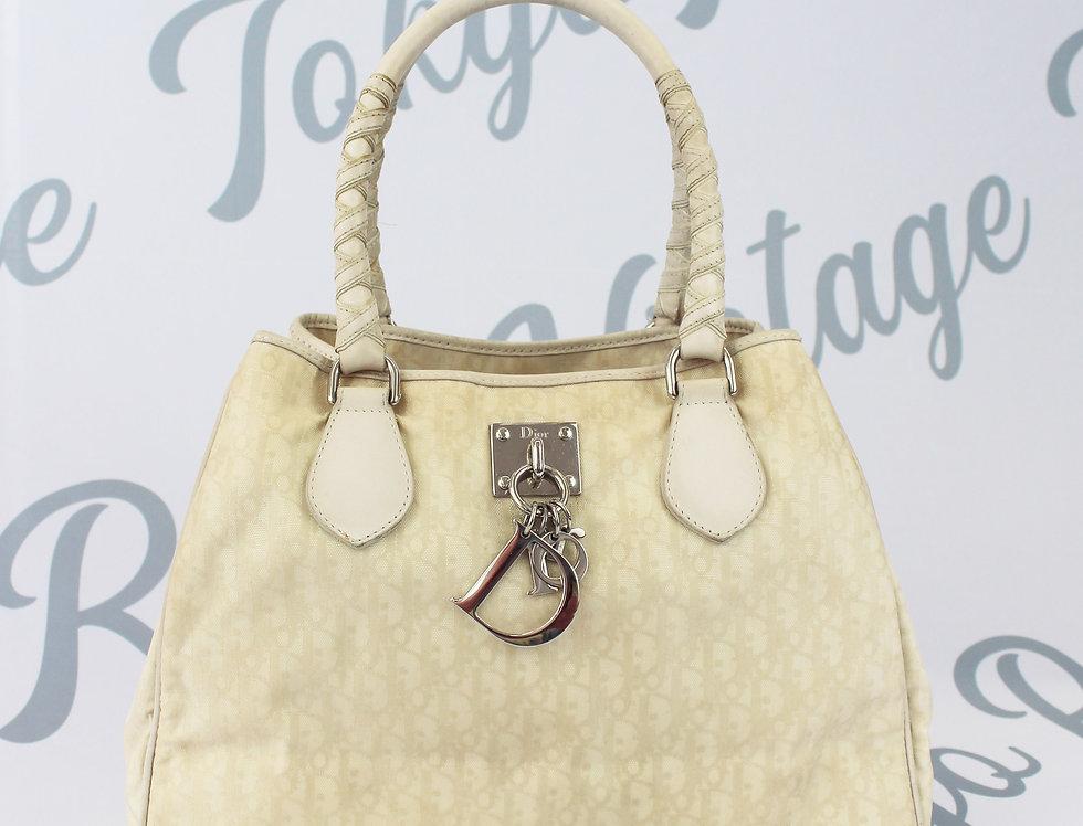Christian Dior Cream Trotter Logo Monogram Handbag Purse