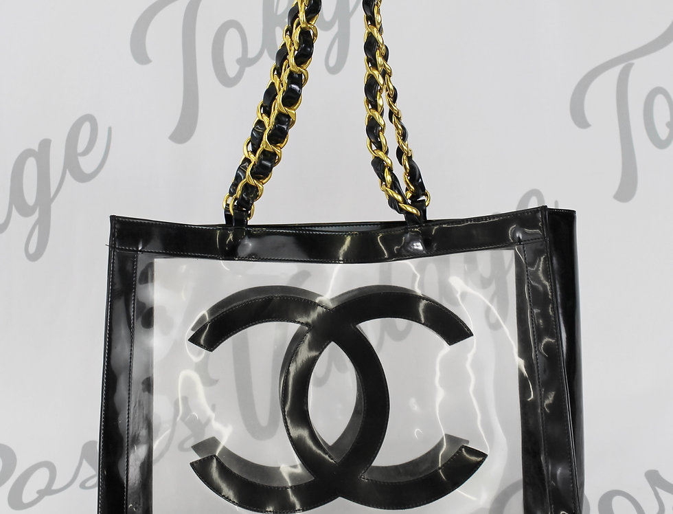 Chanel Jumbo Logo Runway Transparent Bag Black Handbag Gold Chain