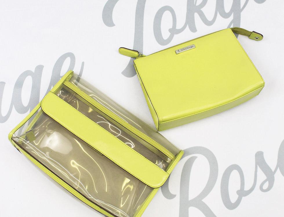 Gucci Vintage Clear Transparent Neon Clutch Bag SET