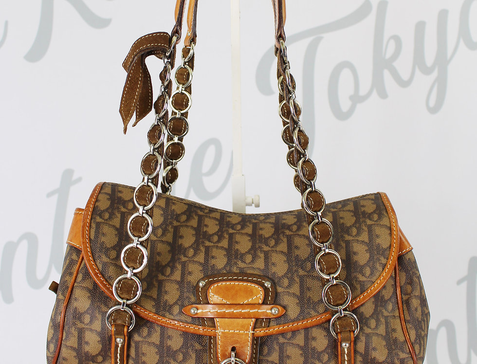 Christian Dior Romantique Heart Lock Brown Handbag Rare