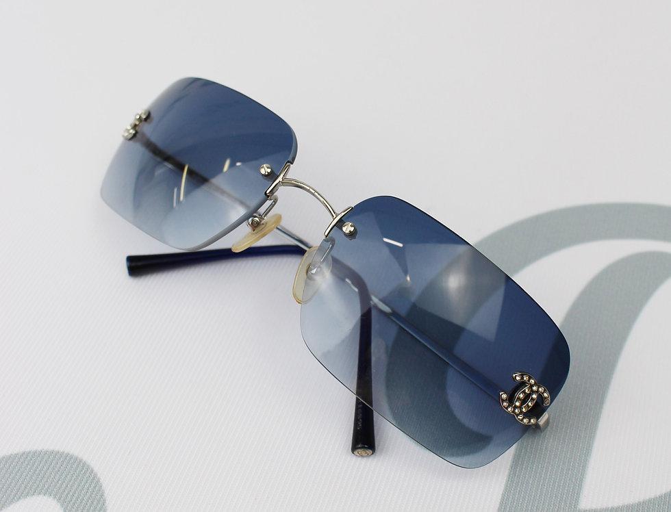 Vintage Chanel Total Blue Tinted Sunglasses Rhinestone Glasses
