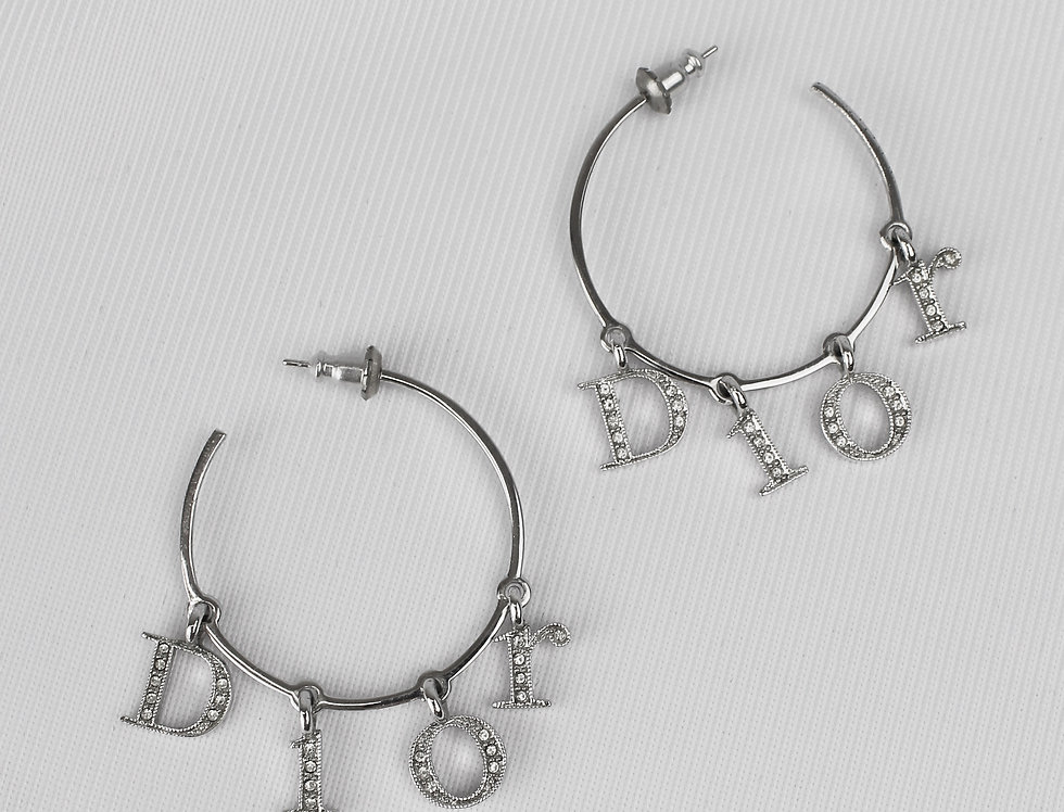Christian Dior Letter Logo Hoop Earrings