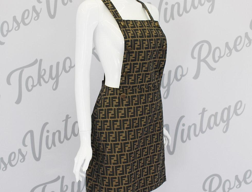 Fendi FF Logo Print Pinafore Dungaree Overall Dress Zucca Pattern