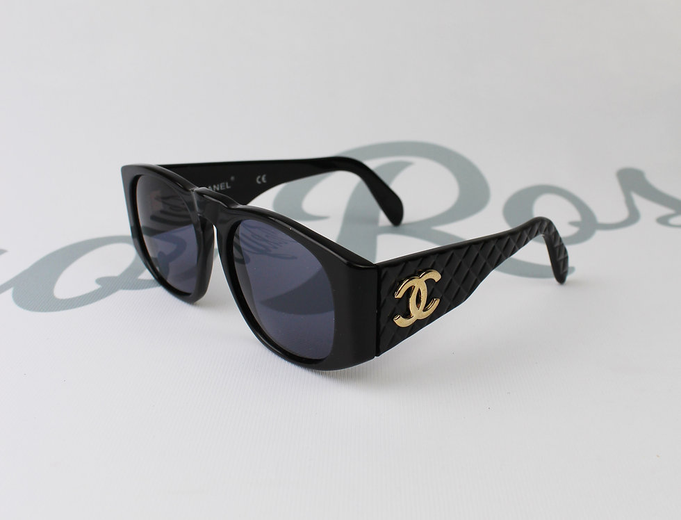 Chanel Black Round Quilted Sunglasses CC Side