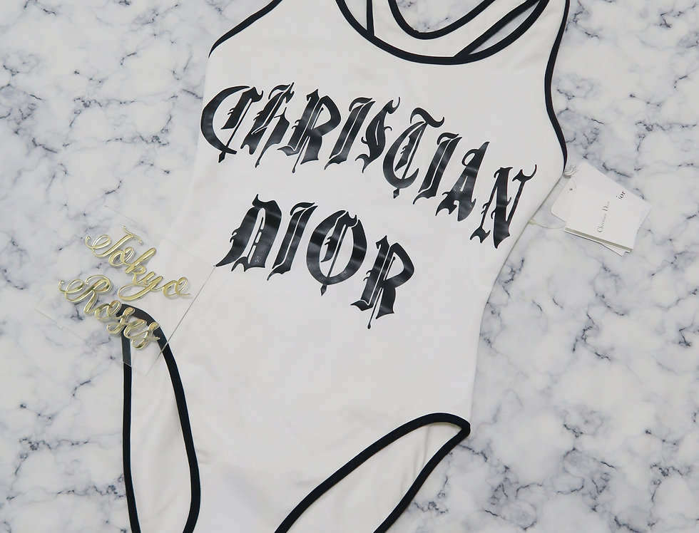 Christian Dior Gothic Logo Print One Piece Swimsuit NWT